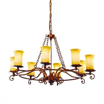 Подвесная люстра ST Luce Ancora SL122.303.08, 8xE14x60W, коричневый, янтарь, металл, ковка, стекло