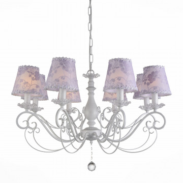 Подвесная люстра ST Luce Incanto SL160.503.08, 8xE14x40W, белый, сиреневый, прозрачный, металл, текстиль, стекло