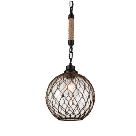 Подвесной светильник ST Luce Juta SL238.033.01, 1xE27x40W, черный, бежевый, коричневый, прозрачный, металл, канат, стекло, текстиль