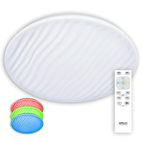 Потолочный светодиодный светильник с пультом ДУ Citilux Дюна CL72080RGB, IP43, LED 80W 3000-4500K + RGB 5200lm, белый, металл, пластик