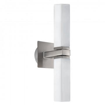 Настенный светильник Eglo Palermo 88284, IP44, 2xG9x33W, никель, белый, металл, стекло