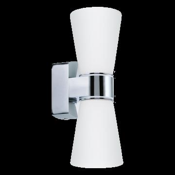 Настенный светильник Eglo Cailin 94989, IP44, 2xG9x2,5W, хром, белый, металл, стекло
