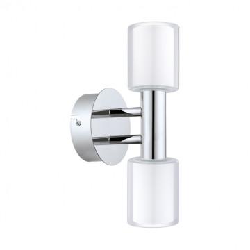 Настенный светильник Eglo Palermo 1 94994, IP44, 2xG9x2,5W, хром, белый, прозрачный, металл, стекло