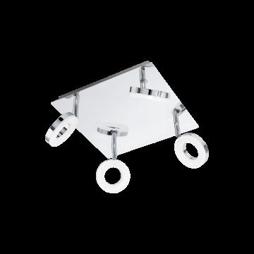 Потолочный светодиодный светильник с регулировкой направления света Eglo Gonaro 94763, IP44, LED 15,2W, 3000K (теплый), хром, белый, металл, пластик