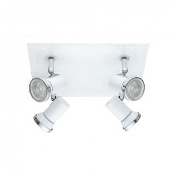 Потолочная люстра с регулировкой направления света Eglo Tamara 1 95995, IP44, 4xGU10x3,3W, белый, стекло, металл