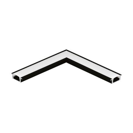 Угловой профиль для светодиодной ленты с рассеивателем Eglo Recessed Profile 1 98986, черный, белый, металл, пластик