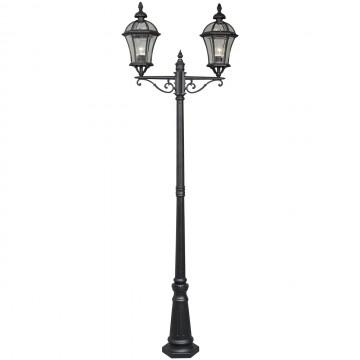 Уличный фонарь De Markt Сандра 811040602, IP23, 2xE27x95W, черный, прозрачный, металл, стекло