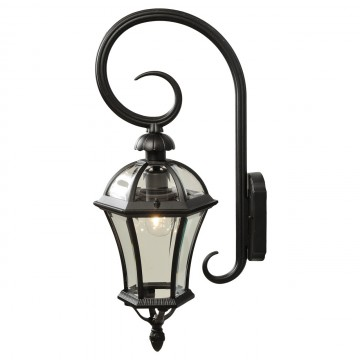 Настенный фонарь De Markt Сандра 811020401, IP23, черный, прозрачный, металл, стекло