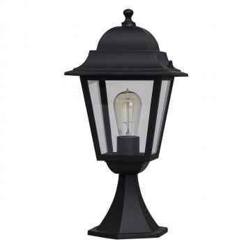Садово-парковый светильник De Markt Глазго 815040901, IP44, 1xE27x95W, черный, прозрачный, металл, металл со стеклом