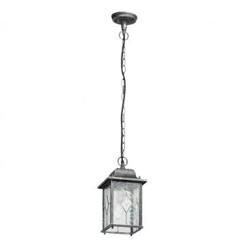Подвесной светильник De Markt Бургос 813010401, IP44, 1xE27x95W, черный с серебряной патиной, матовый, металл, стекло