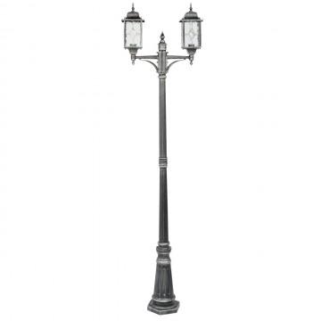 Уличный фонарь De Markt Бургос 813040602, IP44, 2xE27x95W, черный с серебряной патиной, матовый, металл, стекло