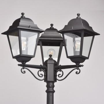 Уличный фонарь De Markt Глазго 815041203, IP44, 3xE27x95W, черный, прозрачный, металл, стекло