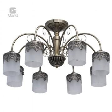 Потолочная люстра De City Вита 220010608, 8xE27x60W, бронза, белый, металл, стекло
