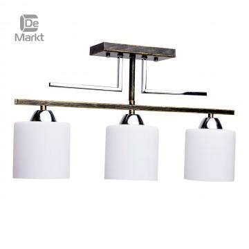 Потолочный светильник De Markt Тетро 673010803, 3xE27x60W, черный с золотой патиной, белый, металл, стекло