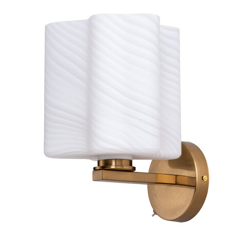 Бра Arte Lamp Serenata A3459AP-1AB, 1xE27x40W, бронза, белый, металл, стекло