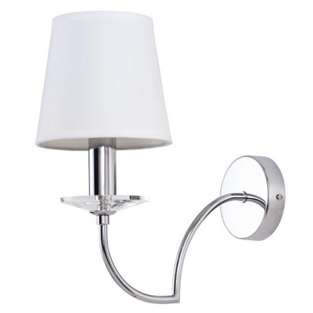 Бра Arte Lamp Edda A3625AP-1CC, 1xE14x60W, хром, белый, металл со стеклом/хрусталем, текстиль