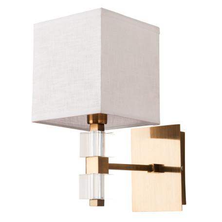 Бра Arte Lamp North A5896AP-1PB, 1xE14x60W, матовое золото, белый, металл, стекло, текстиль