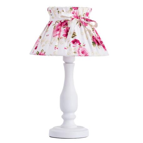 Настольная лампа Arte Lamp Margherita A7028LT-1WH, 1xE27x60W, белый, розовый, металл, текстиль