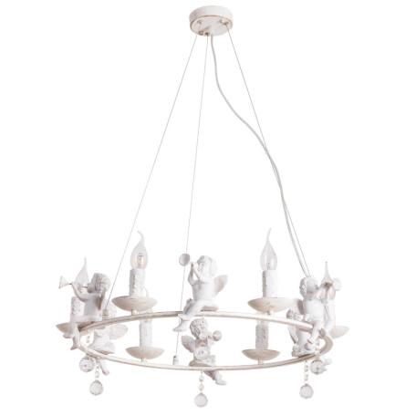 Подвесная люстра Arte Lamp Amur A1133SP-6WG, 6xE14x40W, белый с золотой патиной, прозрачный, металл, стекло
