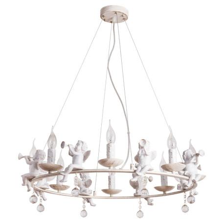 Подвесная люстра Arte Lamp Amur A1133SP-8WG, 8xE14x40W, белый с золотой патиной, прозрачный, металл, стекло