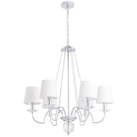 Подвесная люстра Arte Lamp Edda A3625LM-6CC, 6xE14x60W, хром, белый, металл со стеклом, текстиль