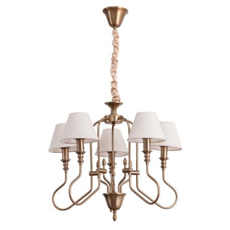 Подвесная люстра Arte Lamp Agio A6086LM-5PB, 5xE14x40W, матовое золото, белый, металл, текстиль