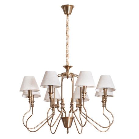 Подвесная люстра Arte Lamp Agio A6086LM-8PB, 8xE14x40W, матовое золото, белый, металл, текстиль