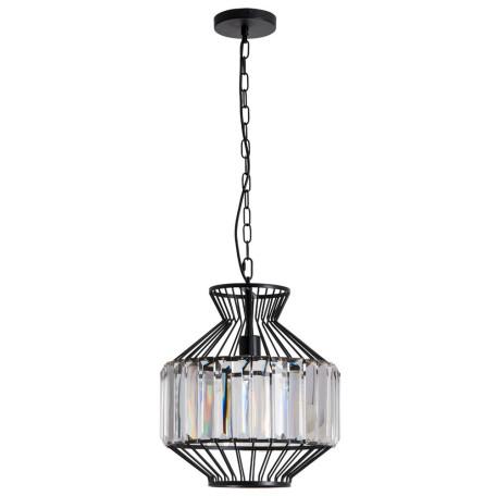 Подвесной светильник Arte Lamp Cassel A1789SP-1BK, 1xE27x60W, черный, прозрачный, металл, металл с хрусталем