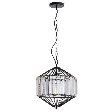 Подвесной светильник Arte Lamp Cassel A1790SP-1BK, 1xE27x60W, черный, прозрачный, металл, металл с хрусталем