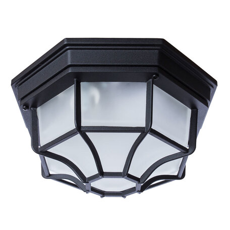 Потолочный светильник Arte Lamp Pegasus A3100PL-1BK, IP65, 1xE27x100W, черный, металл, металл со стеклом