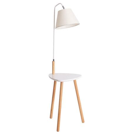 Торшер со столиком Arte Lamp Combo A9201PN-1WH, 1xE27x60W, белый, коричневый, дерево, металл, текстиль