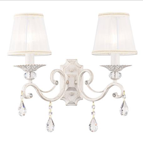 Бра Maytoni Grace ARM247-02-G, 2xE14x40W, белый с золотой патиной, белый, прозрачный, металл, текстиль, хрусталь