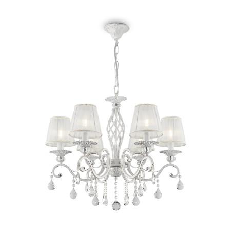 Подвесная люстра Maytoni Grace ARM247-06-G, 6xE14x40W, белый с золотой патиной, прозрачный, белый, металл, текстиль, стекло - миниатюра 2