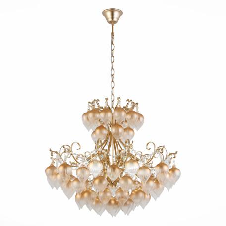 Подвесная люстра ST Luce Frutti SL659.303.06, 6xE14x40W, матовое золото, янтарь, металл, стекло