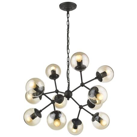 Подвесная люстра Wertmark Bolita WE236.12.023, 12xE27x60W, черный, янтарь, металл, стекло