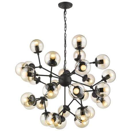 Подвесная люстра Wertmark Bolita WE236.30.023, 30xE27x60W, черный, янтарь, металл, стекло