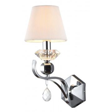 Бра Maytoni Smusso MOD560-01-N, 1xE14x40W, никель с прозрачным, белый, прозрачный, металл со стеклом, текстиль, стекло