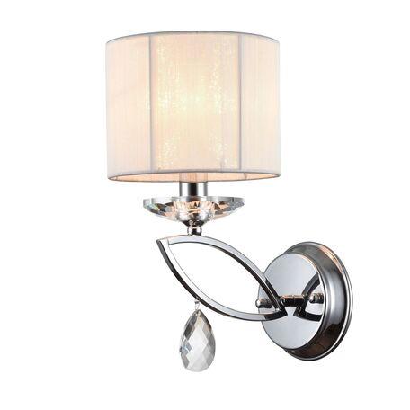 Бра Maytoni Neoclassic Miraggio MOD602-01-N, 1xE14x40W, хром, белый, прозрачный, металл со стеклом, текстиль, стекло