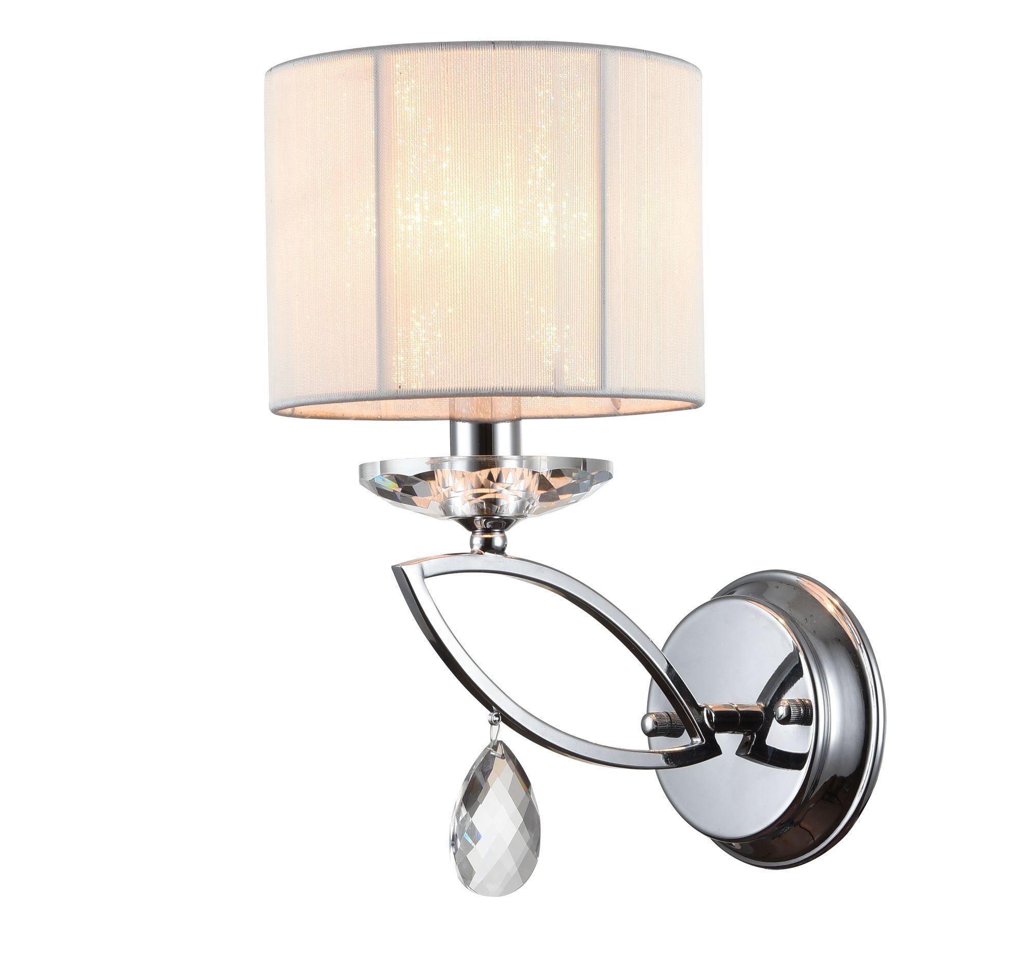 Бра Maytoni Miraggio MOD602-01-N, 1xE14x40W, хром, белый, прозрачный, металл со стеклом, текстиль, стекло - фото 1