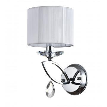 Бра Maytoni Miraggio MOD602-01-N, 1xE14x40W, хром, белый, прозрачный, металл со стеклом, текстиль, стекло - миниатюра 3