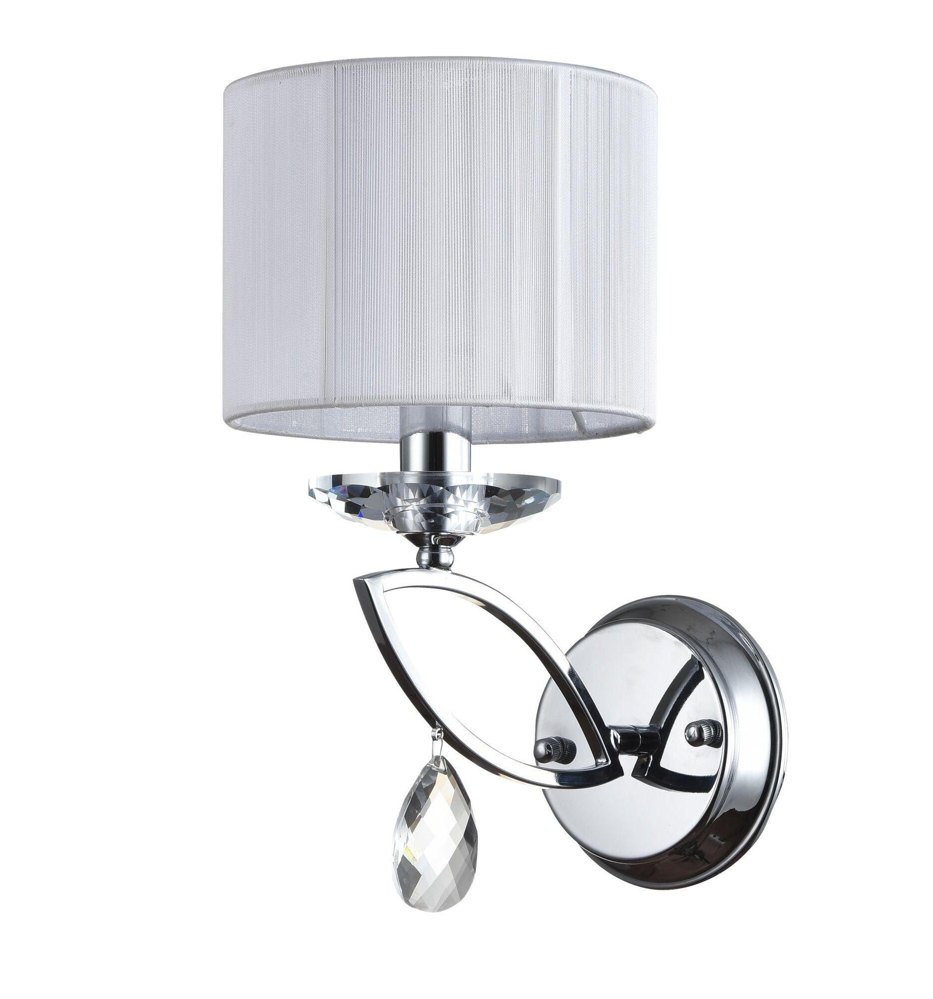 Бра Maytoni Miraggio MOD602-01-N, 1xE14x40W, хром, белый, прозрачный, металл со стеклом, текстиль, стекло - фото 3