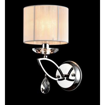 Бра Maytoni Miraggio MOD602-01-N, 1xE14x40W, хром, белый, прозрачный, металл со стеклом, текстиль, стекло - миниатюра 4