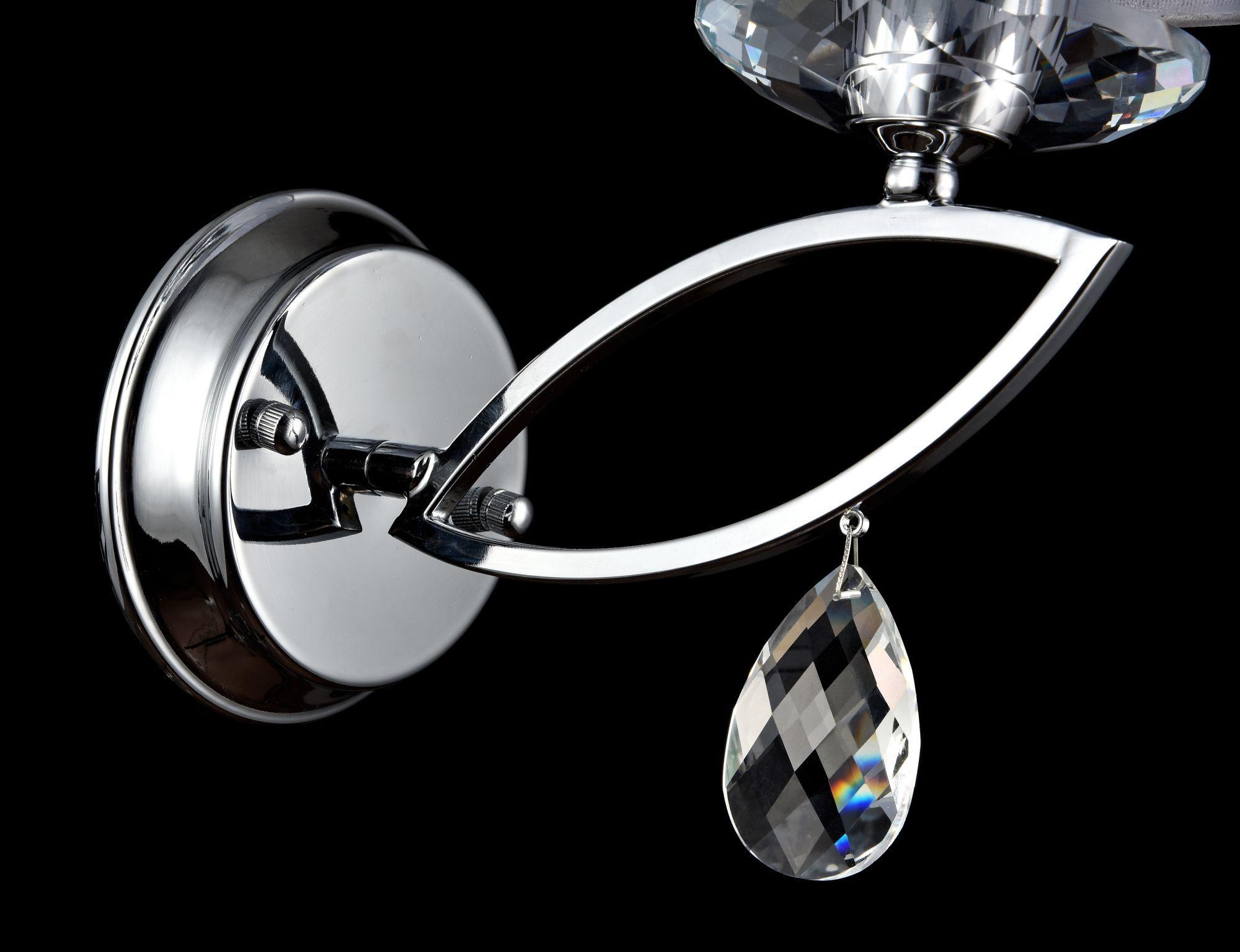 Бра Maytoni Miraggio MOD602-01-N, 1xE14x40W, хром, белый, прозрачный, металл со стеклом, текстиль, стекло - фото 5
