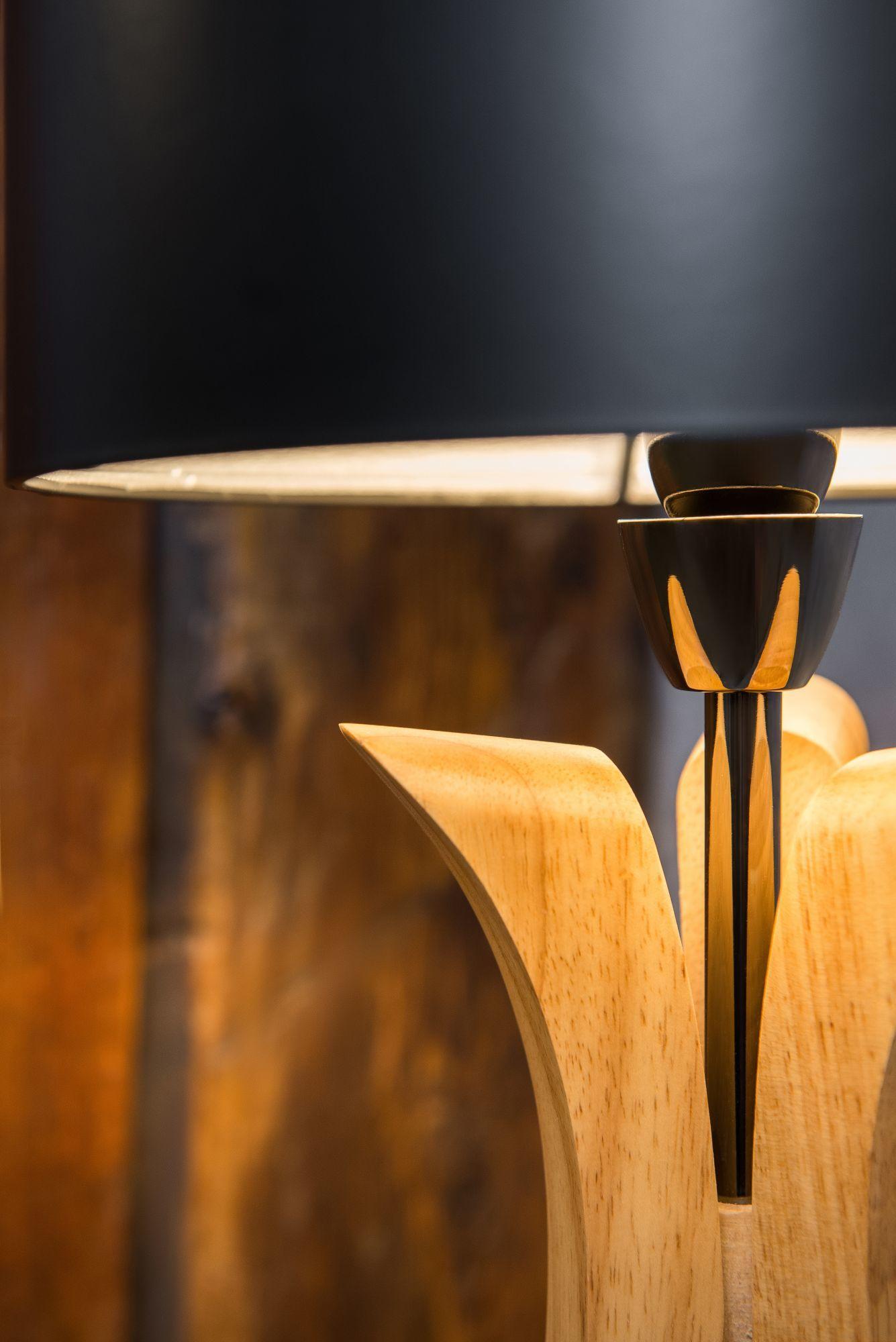 Настольная лампа Maytoni Brava lampada MOD239-01-B, 1xE14x40W, коричневый, никель, черный, дерево, металл - фото 5