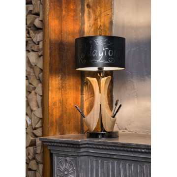 Настольная лампа Maytoni Brava lampada MOD239-01-B, 1xE14x40W, коричневый, никель, черный, дерево, металл - миниатюра 6