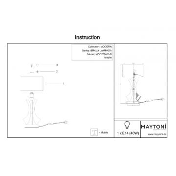 Схема с размерами Maytoni MOD239-01-B
