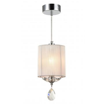 Подвесной светильник Maytoni Miraggio MOD602-00-N, 1xE14x40W, хром, белый, прозрачный, металл со стеклом, текстиль, стекло
