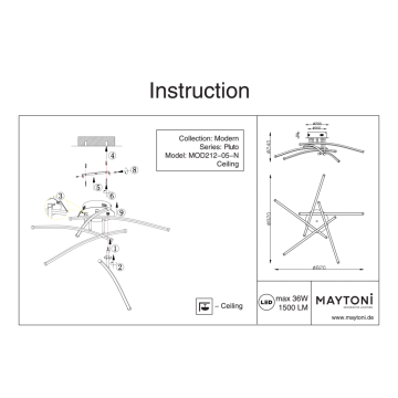 Схема с размерами Maytoni MOD212-05-N