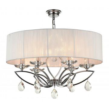 Потолочно-подвесная люстра Maytoni Neoclassic Miraggio MOD602-06-N, 6xE14x40W, хром, белый, прозрачный, металл со стеклом, текстиль, стекло
