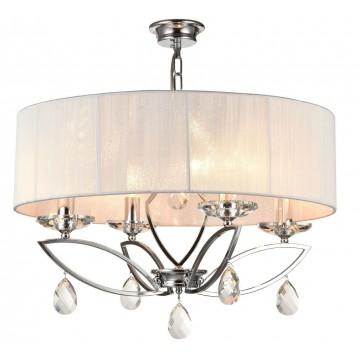 Потолочно-подвесная люстра Maytoni Miraggio MOD602-04-N, 4xE14x40W, прозрачный, хром, белый, металл, стекло, текстиль